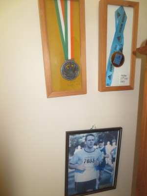 My Short and Illustrious Career as a Runner (bookshelved moved back into place once picture was taken!)