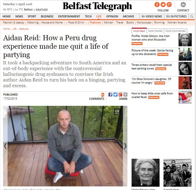 belfast telegraph ayahuasca aidan reid